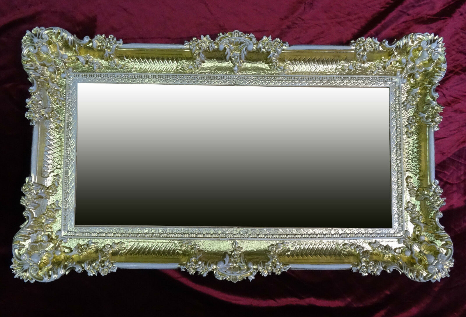 Xxl wall mirror rectangular gold white baroque deco for Rectangular baroque mirror
