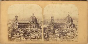 Florence Firenze Panorama Italia Foto Stereo Vintage Albumina Ca 1860