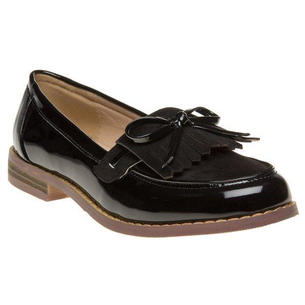 Nouveau Débardeur Solesister Noir Yazmin PU Chaussures Flats Slip On