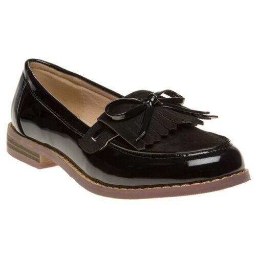 New Womens SOLESISTER Black Yazmin Pu Shoes Flats Slip On