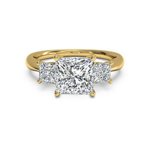1.40 Ct Princess Moissanite Engagement Wedding Ring 18K Solid Yellow Gold Size 9