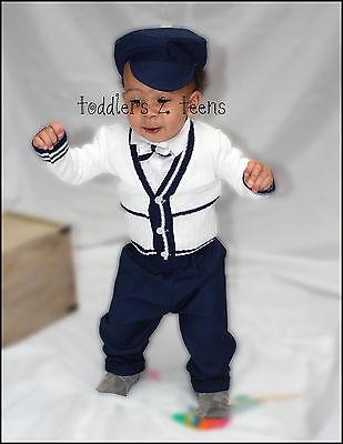 Baby Boy Battesimo Battesimo Formale Smart Vestito Outfit Hat Cardigan Blu Navy Bianco- Adatto Per Uomini E Donne Di Tutte Le Età In Tutte Le Stagioni