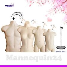 Set Of Male Female Child Toddler Mannequin Torsos Flesh Amp 4 Hangers 1 Stand