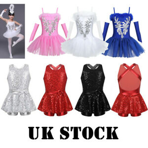 UK-Girls-Sequins-Ballet-Dance-Dress-Swan-Costume-Kids-Jazz-Modern-Tutu-Dancewear