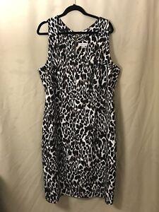 Calvin Klein Sheath Dress 22w Leopard Print Back Gold