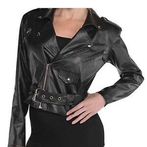 purchase cheap 59e54 a5510 Dettagli su Adulto Donna 50 S Tagliata In Finta Pelle Giacca Sandy Grease  Costume- mostra il titolo originale