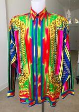 1994 vintage GIANNI VERSACE silk shirt Baroque Bayadera print size 50