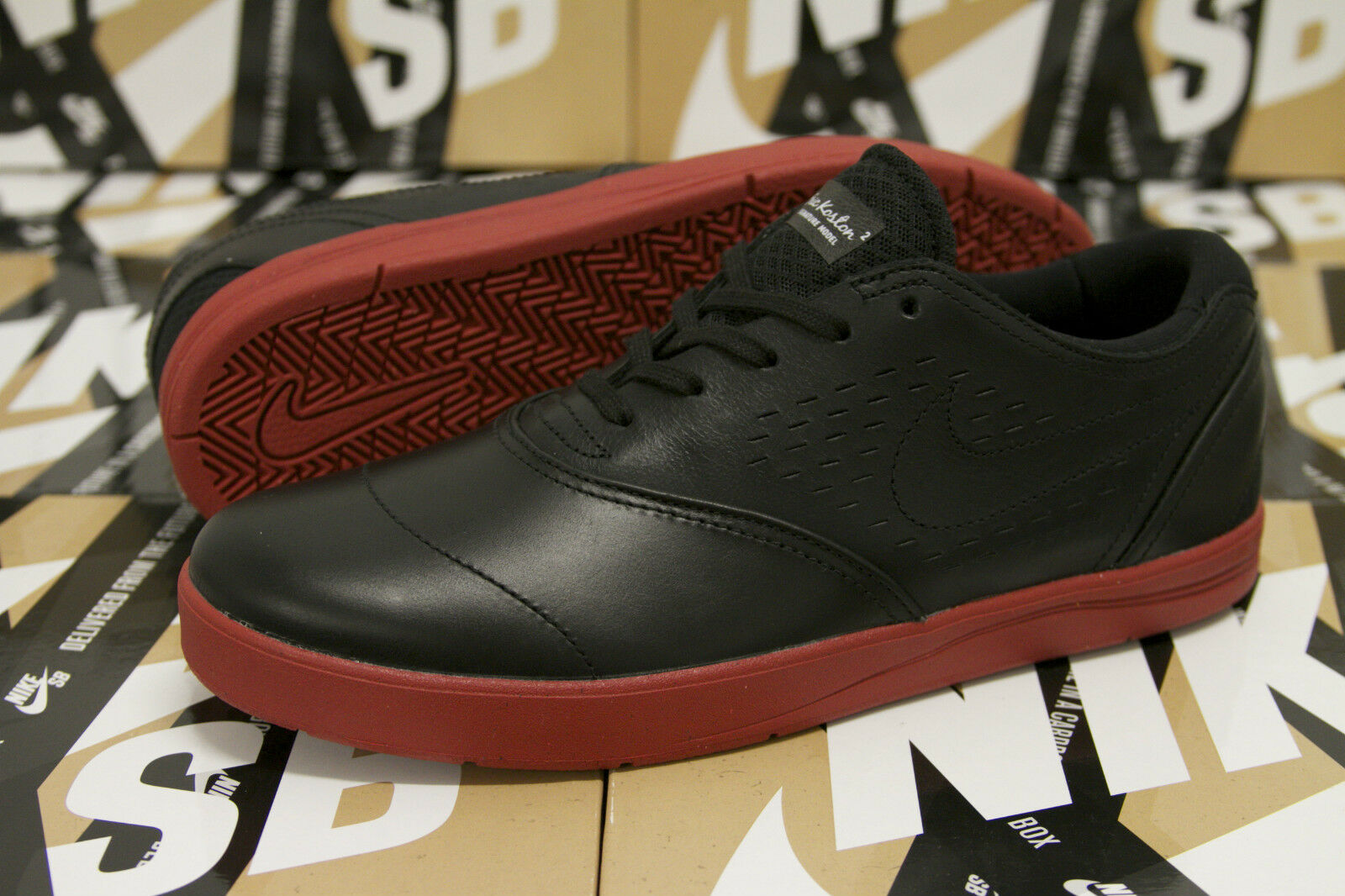 Nike SB Eric Koston 2 Premium BLACK LEATHER TERRA COTTA 599658 008 SIZE 8