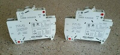 **lot Of (2) New** Allen Bradley 1489-aahh3 Series A Auxiliary Switch Agradable Al Paladar