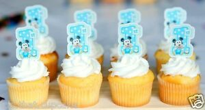 559 Mickey Mouse spotted first 1st birthday Cake or cupcake Toppers