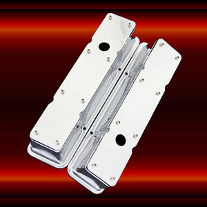 Valve-Covers-2-Piece-for-SBC-Small-Block-Chevy-Engines-Chrome-Plated-Tall-Height