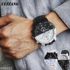 Watch-Analog-Leather-Wristwatch-Fashion-Business-Men-039-s-Casual-Quartz-Large-Dial