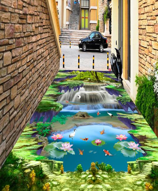 3D Forest Egret Falls 79 Floor WallPaper Murals Wall Print Decal AJ WALLPAPER US