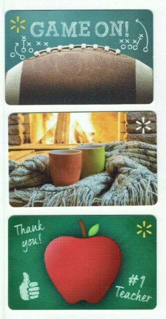 Walmart Gift Card LOT of 3 - Football, Cozy Mugs Fireplace, Apple - No Value
