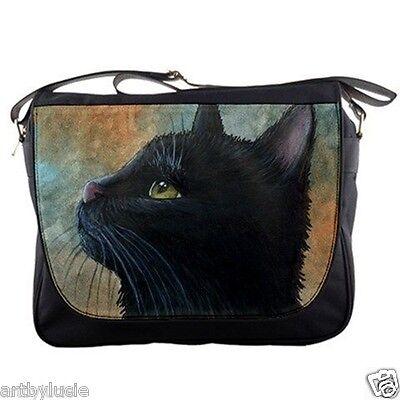 Messenger Handbag bag Purse black Cat 545 from art painting by L.Dumas