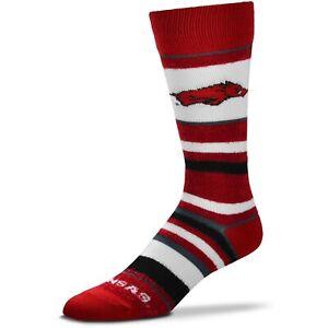 Arkansas-Razorbacks-For-Bare-Feet-Women-039-s-Soft-Stripe-Crew-Length-Socks
