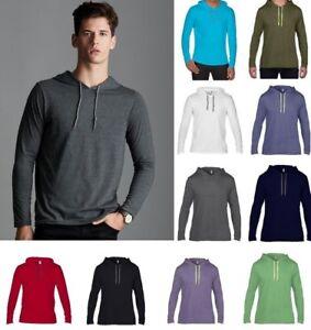 Anvil-Ligero-Manga-Larga-Camiseta-con-Capucha-para-Hombre-de-Algodon-100-en-las-opciones-de-color