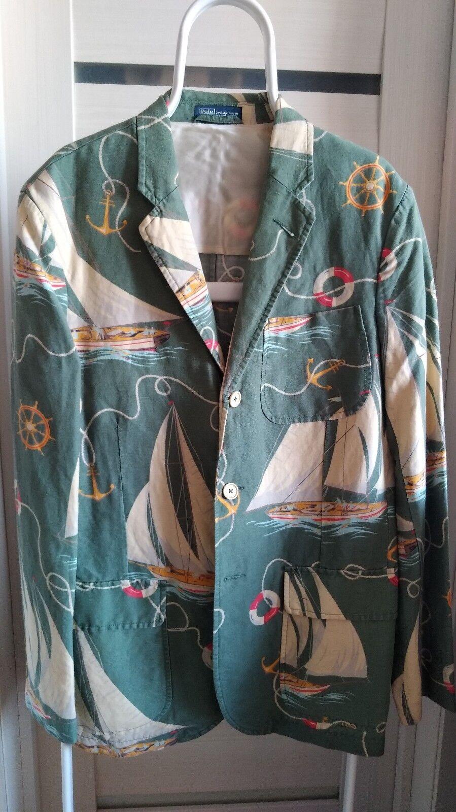 NWT RARE POLO RALPH LAUREN Linen Cotton Sailing Blazer Size US44L