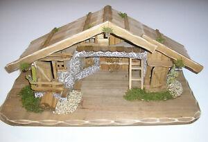 weihnachtskrippe holz krippenstall holzkrippe krippe stall weihnachten ebay. Black Bedroom Furniture Sets. Home Design Ideas