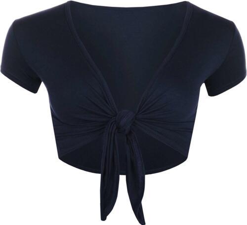 Womens Ladies Cap Short Sleeve Shrug Tie Up Front Crop Bolero Cardigan 8-22