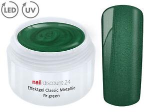 UV-LED-GEL-METALLIC-Effekt-FIR-GREEN-Farbgel-Color-French-Glitter-Modellage-Grun