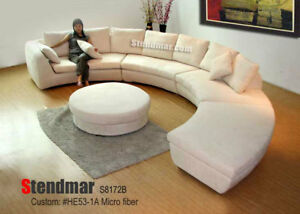 Round Sectional Microfiber Sofa S8172bg