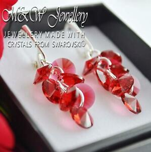925-Sterling-Silver-Earrings-Crystals-From-Swarovski-XILION-RIVOLI-Scarlet