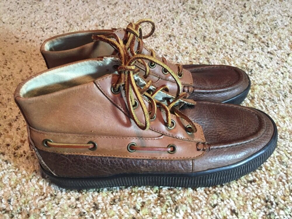 Polo Ralph Lauren Uomo Delmont Chukka Pelle Boot Shoe Brown Sz 7D kd1