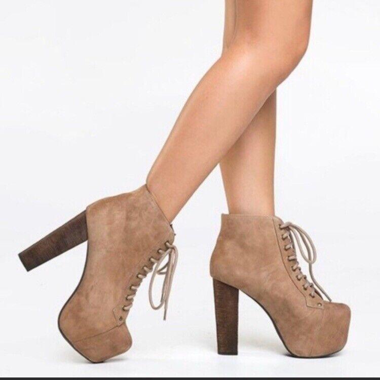 Jeffrey campbell Suede Tan Litas Womens 6.5 Heels Booties