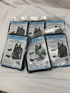 x6 Handy Laundry Foldable Travel Backpack Bag Black #5023 Bundle