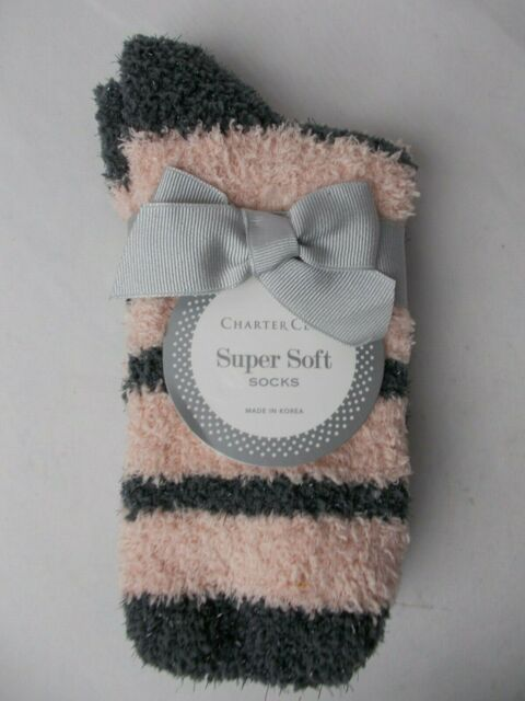 Charter Club Super Soft Socks Pink Fuzzy Comfy Sock Size 9-11 Shoe Size 6-10 New
