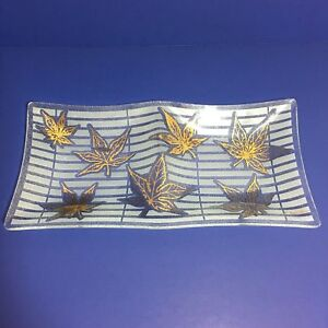 Fred-Press-Divided-Serving-Dish-MCM-Pebble-Glass-Gold-Leaf-Maple-Leaves-Signed