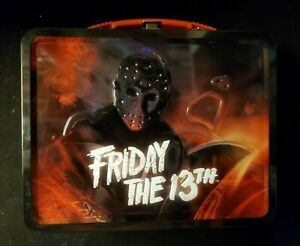 FRIDAY-THE-13th-Large-Embossed-Tin-Tote-Metal-Lunch-Box-Halloween-Horror