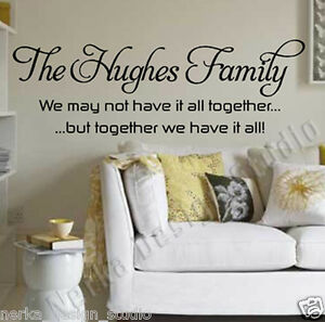 Image Is Loading Wall Quote THE HUGHES FAMILY WALL STICKER Family