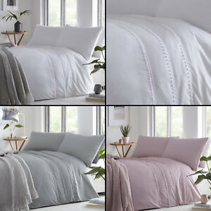 Tassel and Pom Pom Duvet Bed Cover Set Single-Double-King Size Luxury Style