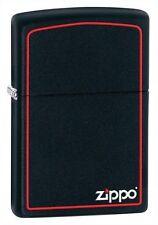 """Zippo """"Black Matte"""" Finish Lighter, Red Border, Full Size,  218ZB"""