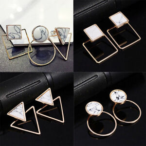 Lady-Geometric-Round-Triangle-Square-Marble-Pattern-Earrings-Punk-Ear-Stud-Gift