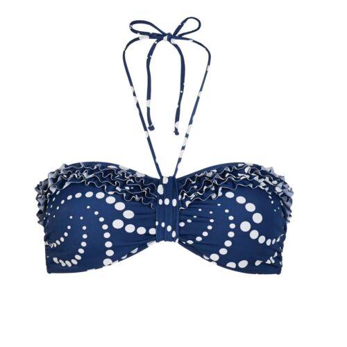 Bianco A Fascia Scollo Ampio Bikini Set 8-10-12-14-16 Nuovo con etichetta LEPEL Chica Spot Blu Navy
