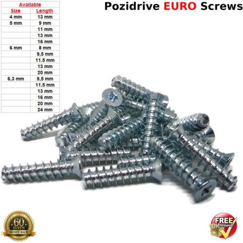 5 x 11mm EURO SCREWS MOUNTING DRAW RUNNERS HINGES FURNITURE FLAT HEAD SCREW