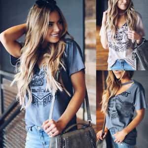 Women-039-s-Choker-V-Neck-Loose-Tops-Ladies-Summer-Casual-Short-Sleeve-T-Shirt-Tee