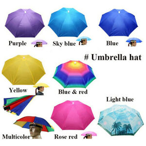 88e82bd43ff 1x Outdoor Foldable Sun Umbrella Hat Golf Fishing Camping Headwear ...