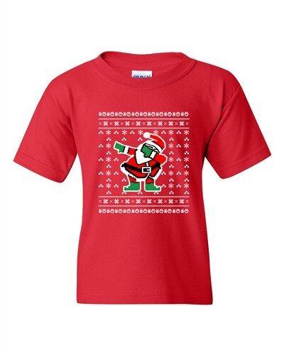 Dabbing Santa Dab Ugly Christmas Football Sports Funny DT Youth Kids T-Shirt Tee