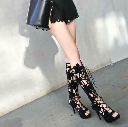 Donna Donna Donna Suede Flowers Hollow Out Lace Up Knee High Summer stivali Roman Sandals H82 bb0509