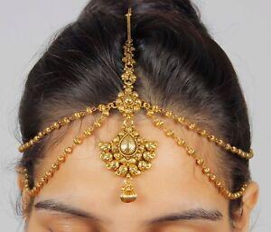 22 Gold Tone Bridal Mattha Patti Wedding Hair Accessory Ethnic