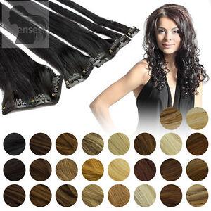45cm-60cm-Clip-In-Extensions-Remy-Echthaar-Haarverlaengerung-Haare-5-Tressen