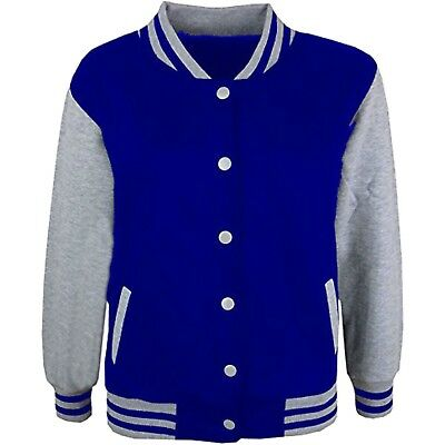 Kids Boys Baseball Royal /& Grey Jacket Varsity Style Plain School Jacket 5-13 Yr