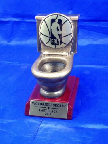 FREE ENGRAVING SHIPS IN 1 DAY! FANTASY BASKETBALL TOILET BOWL TROPHY