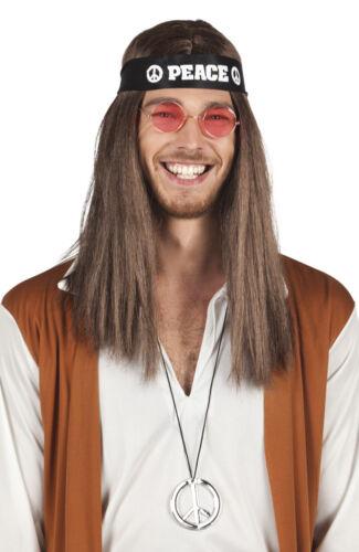 Deguisement hippie homme femme set lunettes collier peace bandeau années 60 70