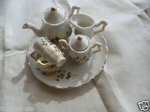 Vintage-white-china-toy-flower-tea-set-doll-or-bear-sized-pot-jug-cups-saucers