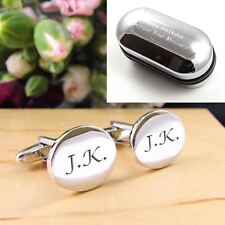 Silver Oval Engraved Personalised Initial Cufflinks - Men's Wedding/Birthday